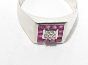 Mens Ruby and Diamond ring. 10k white gold